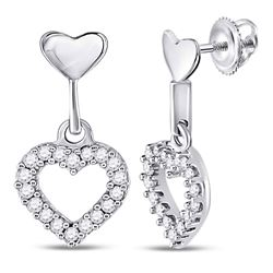 0.20 CTW Diamond Small Heart Dangle Screwback Earrings 10KT White Gold - REF-18Y2X