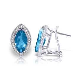 Genuine 4.8 ctw Blue Topaz & Diamond Earrings Jewelry 14KT White Gold - REF-103Z3N