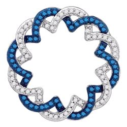 0.33 CTW Blue Color Diamond Circle Pendant 10KT White Gold - REF-19N4F