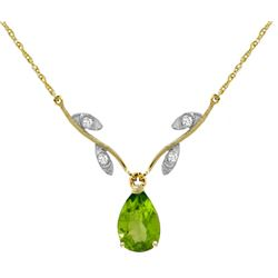 Genuine 1.52 ctw Peridot & Diamond Necklace Jewelry 14KT Yellow Gold - REF-30V7W