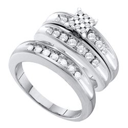 0.74 CTW His & Hers Diamond Cluster Matching Bridal Ring 10KT White Gold - REF-82K4W