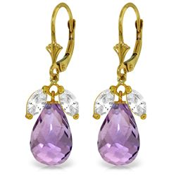 Genuine 14.4 ctw White Topaz & Amethyst Earrings Jewelry 14KT Yellow Gold - REF-46H7X