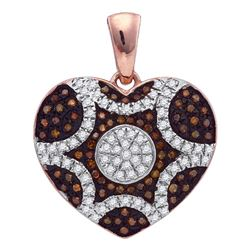 0.33 CTW Red Color Diamond Heart Cluster Pendant 10KT Rose Gold - REF-40N4F