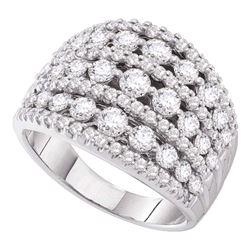 3 CTW Pave-set Diamond Wide Fashion Ring 14KT White Gold - REF-285M2H