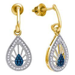 0.25 CTW Blue Color Diamond Teardrop Screwback Earrings 10KT Yellow Gold - REF-26X9Y