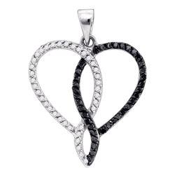 0.36 CTW Black Color Diamond Heart Outline Pendant 10KT White Gold - REF-22N4F