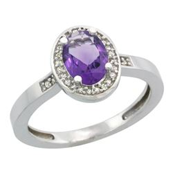 Natural 1.08 ctw Amethyst & Diamond Engagement Ring 14K White Gold - REF-31N3G