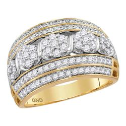 1.01 CTW Diamond Flower Cluster Fashion Ring 14KT Yellow Gold - REF-97X4Y
