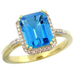 Natural 2.63 ctw Swiss-blue-topaz & Diamond Engagement Ring 10K Yellow Gold - REF-32X7A