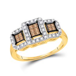 0.41 CTW Princess Cognac-brown Color Diamond Ring 14KT Yellow Gold - REF-49N5F