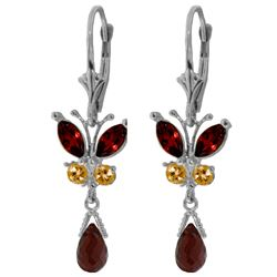 Genuine 2.74 ctw Garnet & Citrine Earrings Jewelry 14KT White Gold - REF-42F6Z