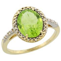 Natural 2.8 ctw Peridot & Diamond Engagement Ring 14K Yellow Gold - REF-39H4W