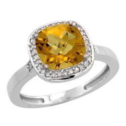 Natural 3.94 ctw Whisky-quartz & Diamond Engagement Ring 14K White Gold - REF-36F7N