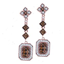 0.63 CTW Brown Color Diamond Dangle Earrings 14KT Rose Gold - REF-71K9W