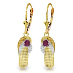 Genuine 0.30 CTW Ruby Earrings Jewelry 14KT Yellow Gold - REF-58N5R