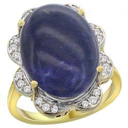 Natural 9.73 ctw lapis-lazuli & Diamond Engagement Ring 14K Yellow Gold - REF-108V4F