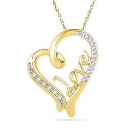 0.10 CTW Diamond Heart Love Pendant 10KT Yellow Gold - REF-16X4Y