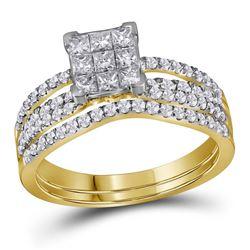 1.01 CTW Princess Diamond Cluster Bridal Engagement Ring 14KT Yellow Gold - REF-89H9M