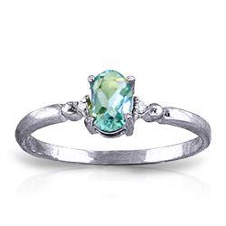 Genuine 0.46 ctw Blue Topaz & Diamond Ring Jewelry 14KT White Gold - REF-27T3A