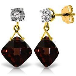 Genuine 17.56 ctw Garnet & Diamond Earrings Jewelry 14KT Yellow Gold - REF-59R2P