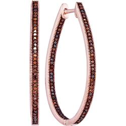 0.50 CTW Red Color Diamond Oval Hoop Earrings 10KT Rose Gold - REF-59N9F