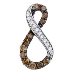 0.50 CTW Cognac-brown Color Diamond Infinity Pendant 10KT White Gold - REF-22Y4X