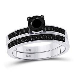 1 CTW Black Color Diamond Bridal Wedding Engagement Ring 10KT White Gold - REF-34K4W