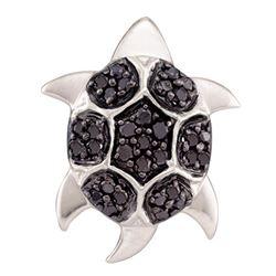 0.20 CTW Black Color Diamond Turtle Tortoise Pendant 14KT White Gold - REF-18K2W