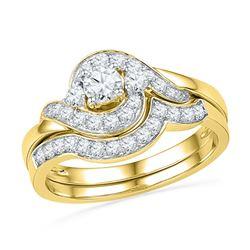 0.75 CTW Diamond Swirl Bridal Engagement Ring 14KT Yellow Gold - REF-86H2M