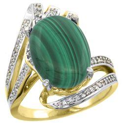 Natural 7.28 ctw malachite & Diamond Engagement Ring 14K Yellow Gold - REF-86M7H