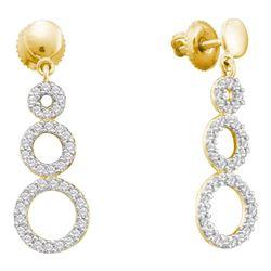 0.40 CTW Diamond Triple Circle Screwback Dangle Earrings 14KT Yellow Gold - REF-41Y9X