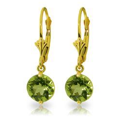 Genuine 3.1 ctw Peridot Earrings Jewelry 14KT Yellow Gold - REF-34N5R