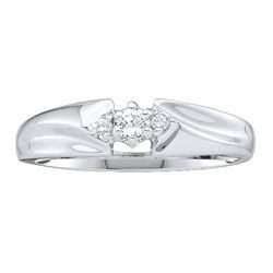 0.10 CTW Diamond 3-stone Promise Bridal Ring 14KT White Gold - REF-22M4H