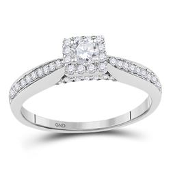 0.50 CTW Diamond Solitaire Square Halo Bridal Ring 10KT White Gold - REF-53N9F