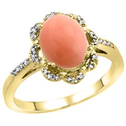 Natural 2.09 ctw Coral & Diamond Engagement Ring 14K Yellow Gold - REF-37K3R