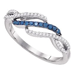 0.25 CTW Blue Color Diamond Woven Ring 10KT White Gold - REF-18H2M