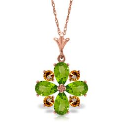 Genuine 2.43 ctw Peridot & Citrine Necklace Jewelry 14KT Rose Gold - REF-29A7K