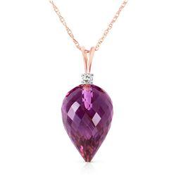 Genuine 9.55 ctw Amethyst & Diamond Necklace Jewelry 14KT Rose Gold - REF-25F3Z
