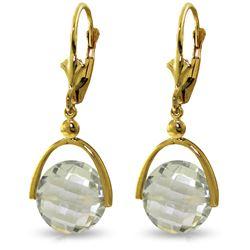 Genuine 6.5 ctw Green Amethyst Earrings Jewelry 14KT Yellow Gold - REF-43X2M