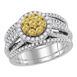 1.97 CTW Yellow Diamond Bridal Engagement Ring 14KT White Gold - REF-224Y9X