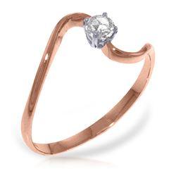 Genuine 0.15 ctw Diamond Anniversary Ring Jewelry 14KT Rose Gold - REF-34H3X