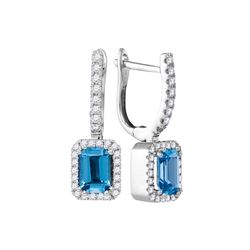 1.5 CTW Cushion Blue Topaz Solitaire Diamond Hoop Dangle Earrings 14KT White Gold - REF-77Y9X