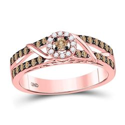 0.44 CTW Colored Brown Diamond Ring 10KT Rose Gold - REF-57H2M