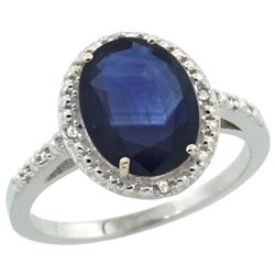 Natural 2.42 ctw Blue-sapphire & Diamond Engagement Ring 10K White Gold - REF-85R8Z