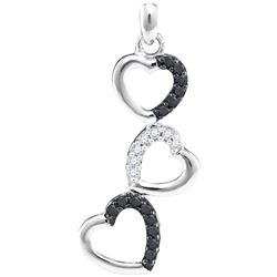 0.17 CTW Black Color Diamond Triple Heart Love Pendant 10KT White Gold - REF-14N9F