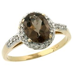 Natural 1.3 ctw Smoky-topaz & Diamond Engagement Ring 10K Yellow Gold - REF-25G9M