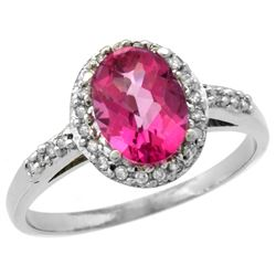 Natural 1.3 ctw Pink-topaz & Diamond Engagement Ring 14K White Gold - REF-32G2M