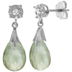 Genuine 6.06 ctw Green Amethyst & Diamond Earrings Jewelry 14KT White Gold - REF-37T4A