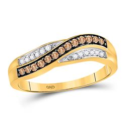 0.25 CTW Cognac-brown Color Diamond Ring 10KT Yellow Gold - REF-14F9N