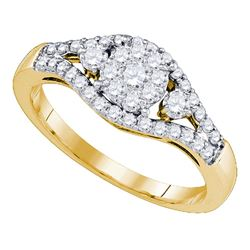 0.60 CTW Diamond Flower Cluster Ring 10KT Yellow Gold - REF-57Y2X